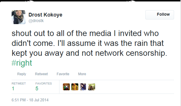 drost on media that didnt go to protest