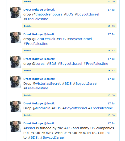 drost tweets on boycott product supporting isareal