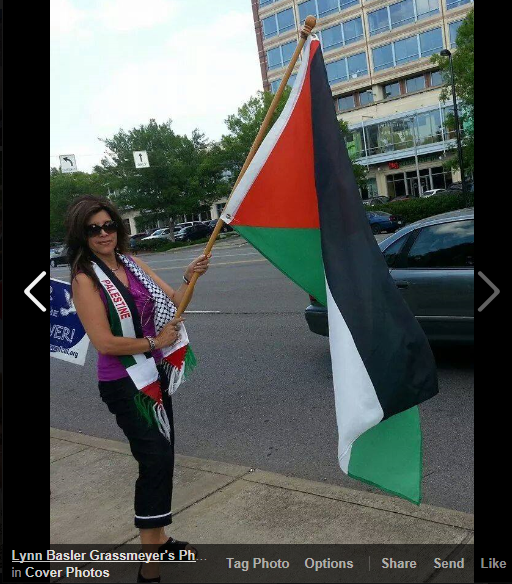 lynn grassmeyer with palestine flag