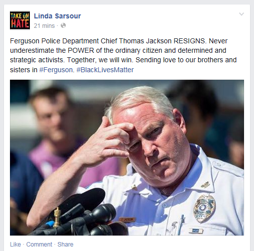 sarsour on chief of ferguson resignng