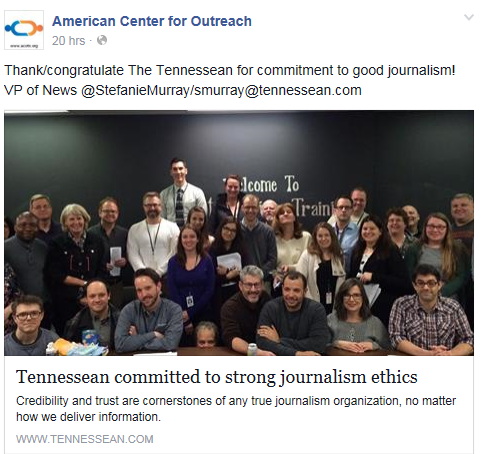 ACO praising the Tennessean paper