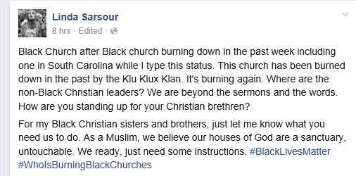 sarsour on south churches being burned