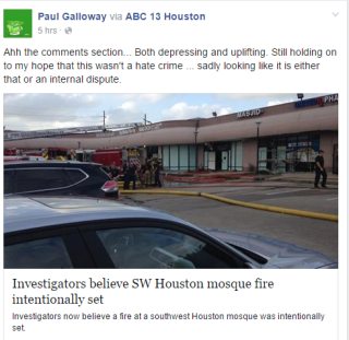 galloway on mosque fire in houston