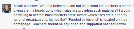 comment about teachers dont know who terrorist are